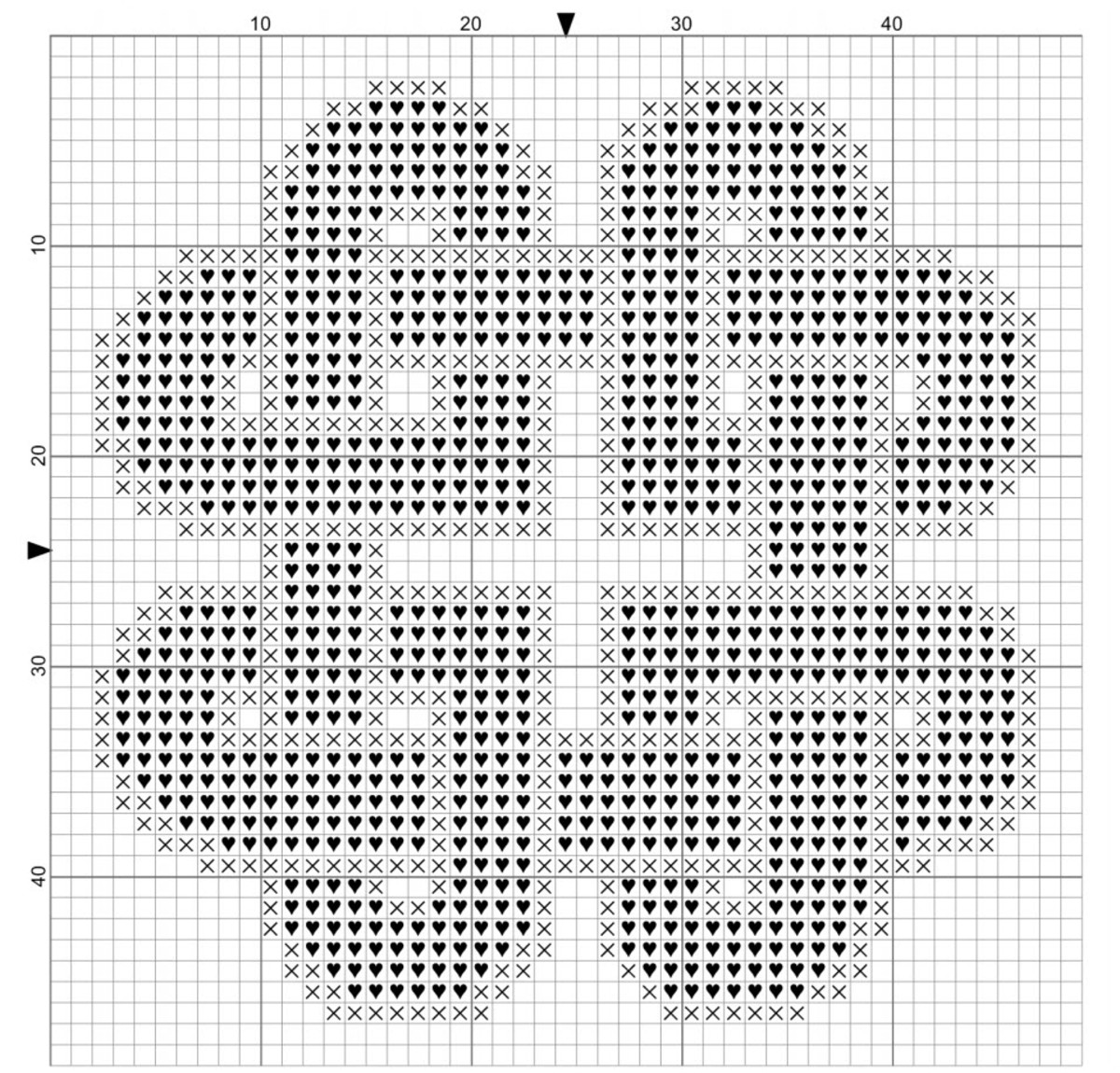 Full Knotted Hearts Cross Stitch Pattern