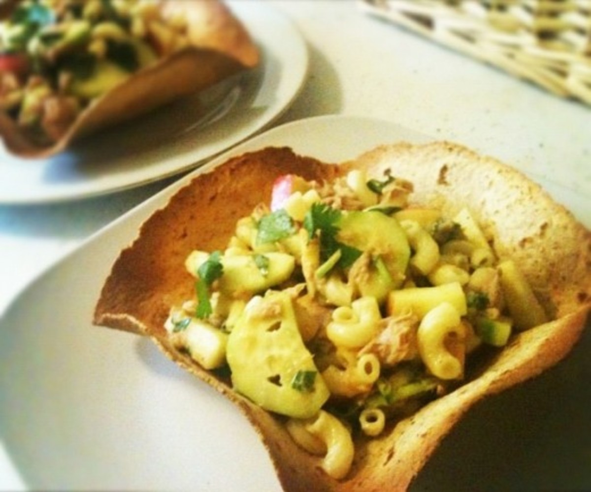 Tuna Pasta Salad in Tortilla Bowls