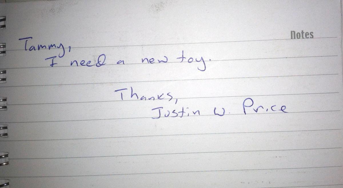Handwriting sample of PDXKaraokeguy