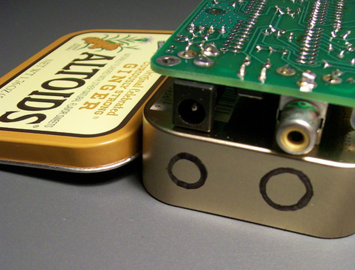 This Flickr user has a handful of really creative small scale electronics that fit right in tins.