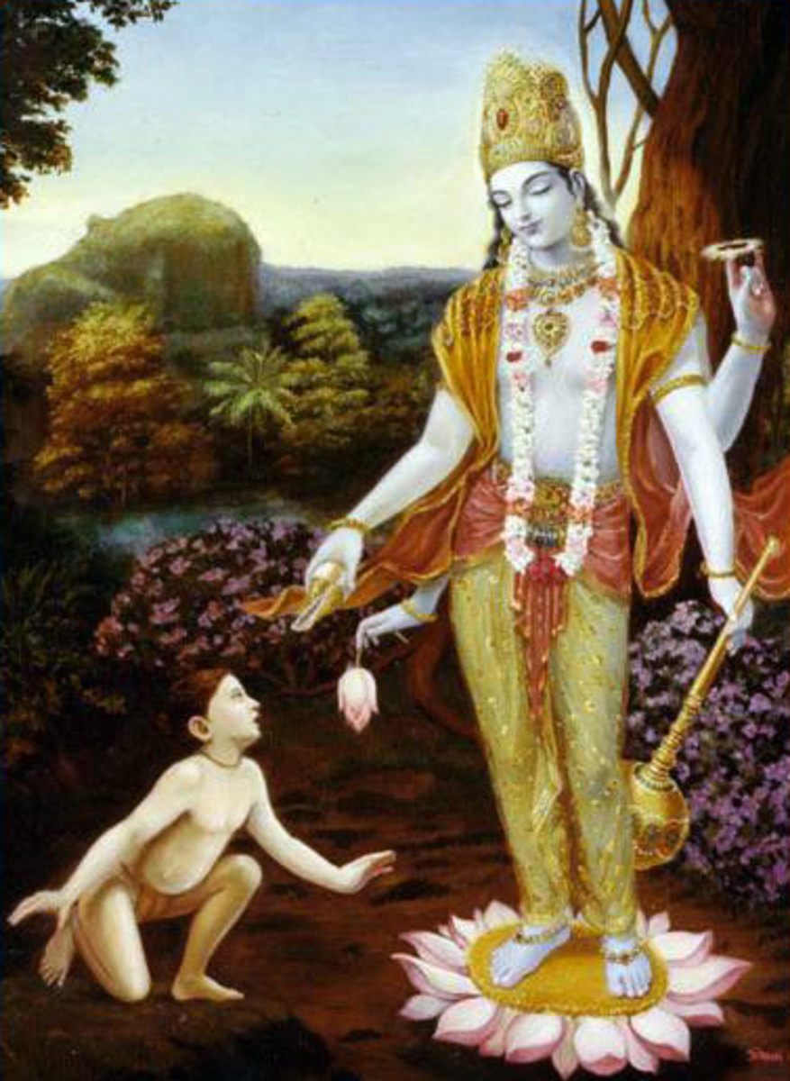 Little Dhruva being blessed by Lord Narayana (Vishnu)