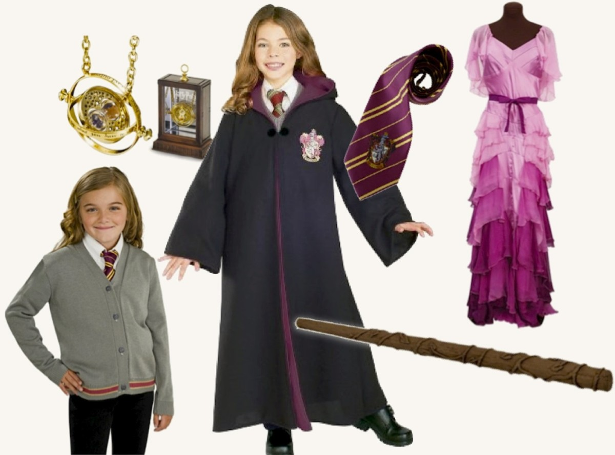 Left to right: Hogwarts Cardigan and Tie, Time Turner Necklace with Display, Deluxe, Harry Potter Hermione Granger Costume Robe With Gryffindor Emblem, Hermione's Rubies Costume Wand, Gryffindor Tie, and Hermione's Yule Ball Gown. Available at