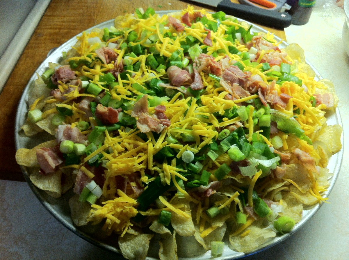 Irish Nachos ready to go into the oven