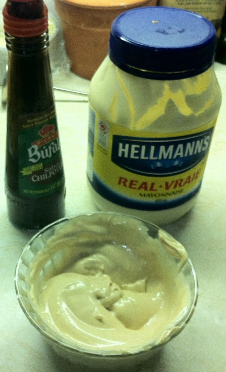Side of mayonnaise with salsa chilpotle sauce