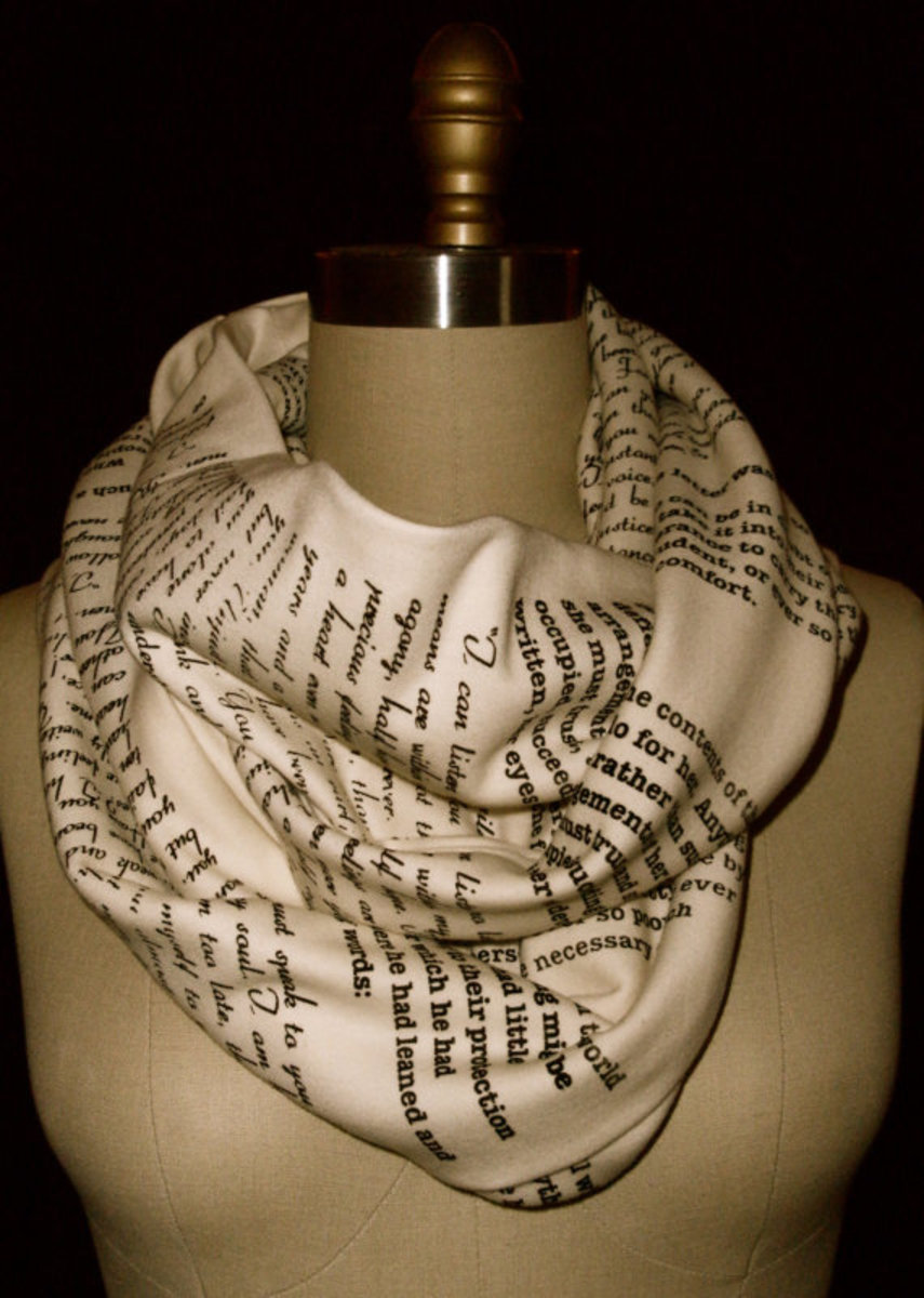 Book printed fabric scarf