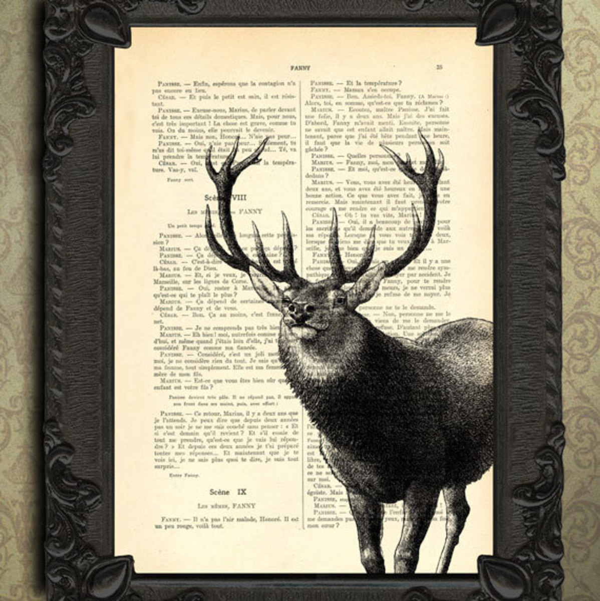 Stag Art on vintage recycled book page