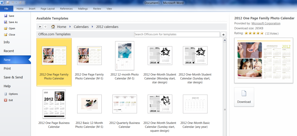 The templates within the 2012 calendar sub-folder. You can single click each template for more details.