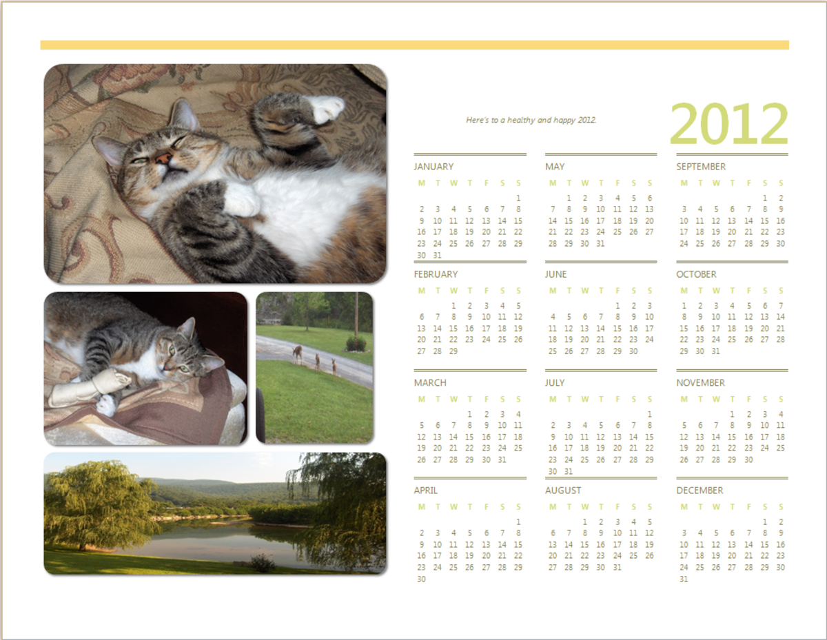 A calendar producing using a simple Microsoft Word template.