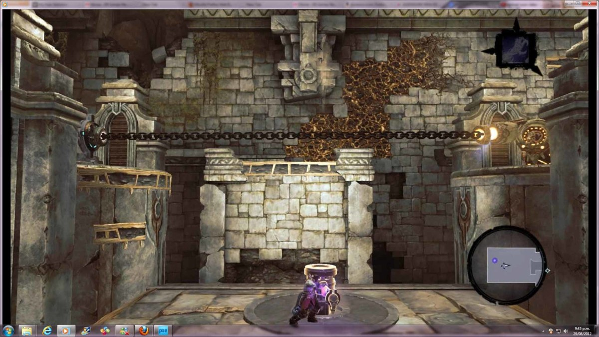 Darksiders 2 use the golem elevator chain in the foundry to move on and find the second heartstone