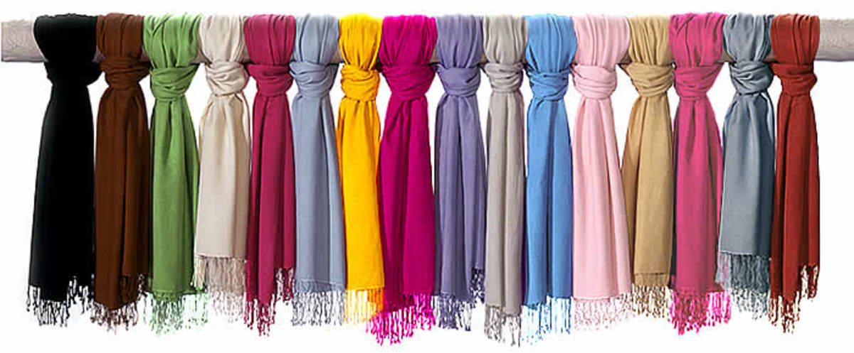 Pashmina scarves or stoles in different colours