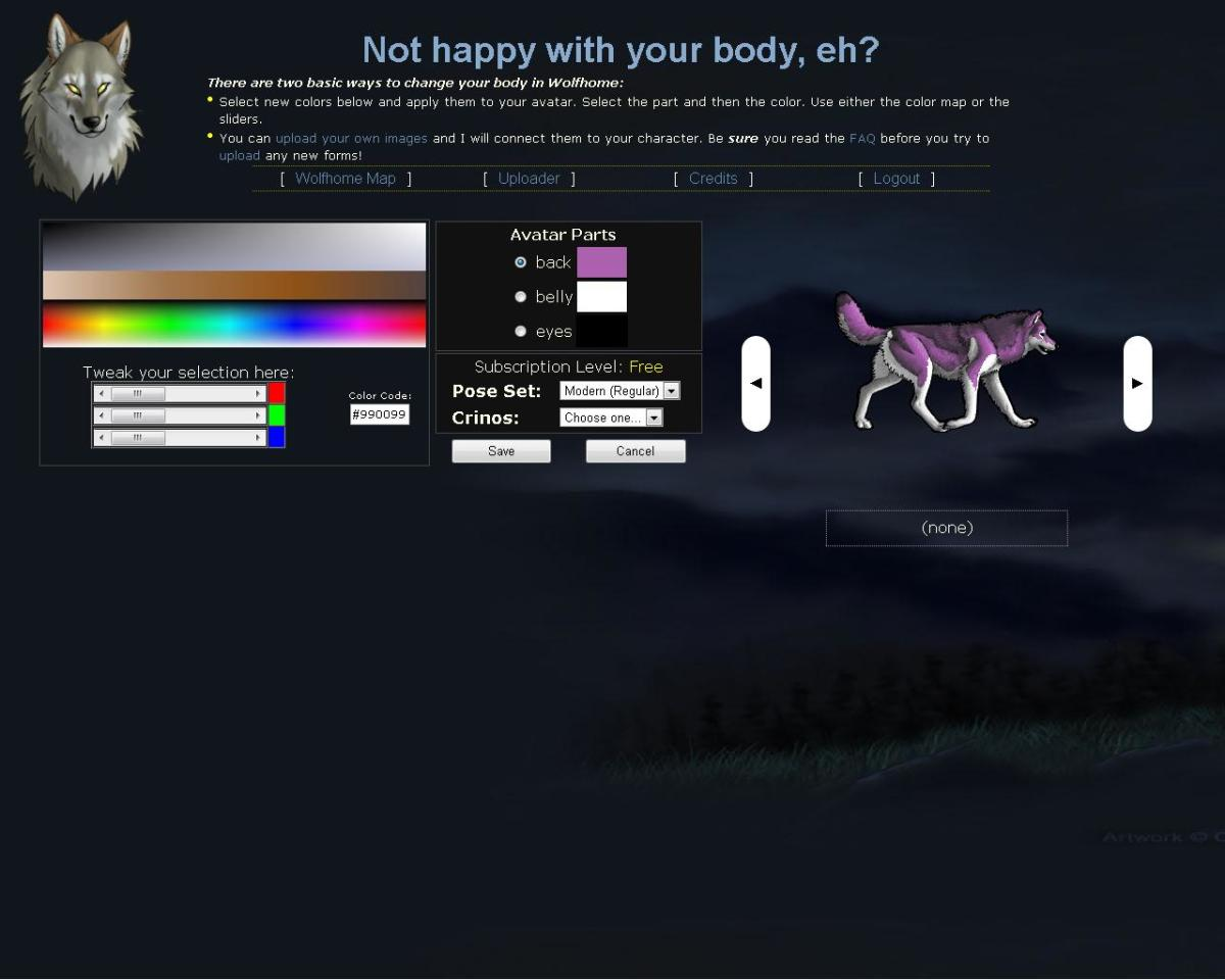In the Bodyshop, users can customize the colors of their wolf avatar.