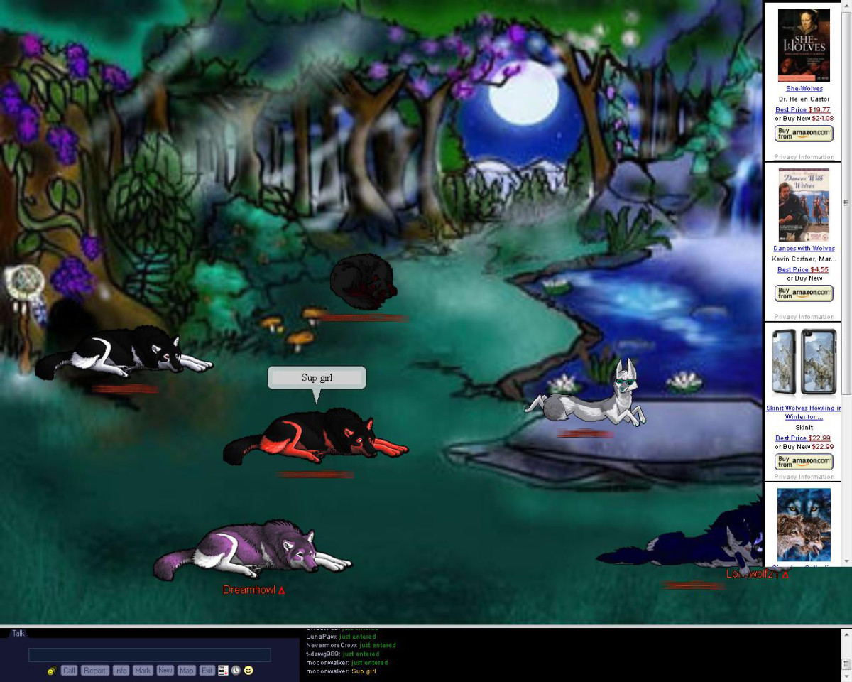 Wolfhome is a free-to-join, 2-D chat website that is free to join and use.