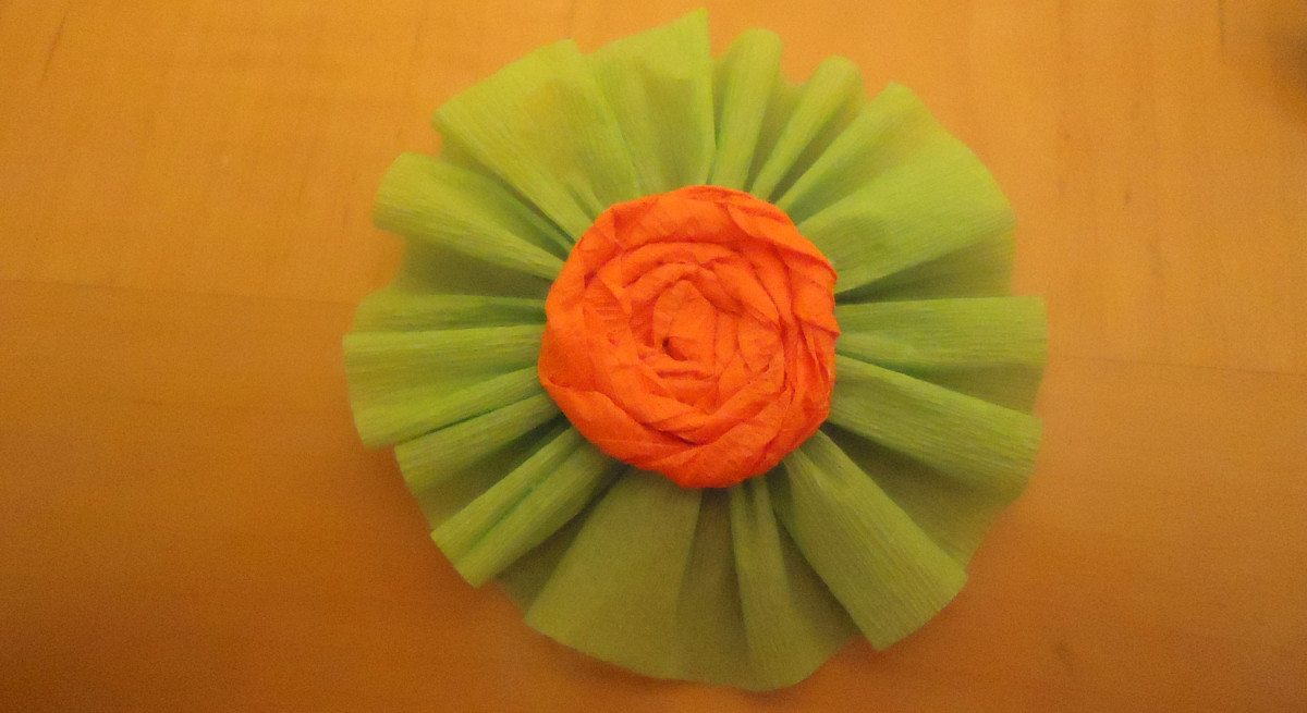 rolled flower embellishment on a rosette