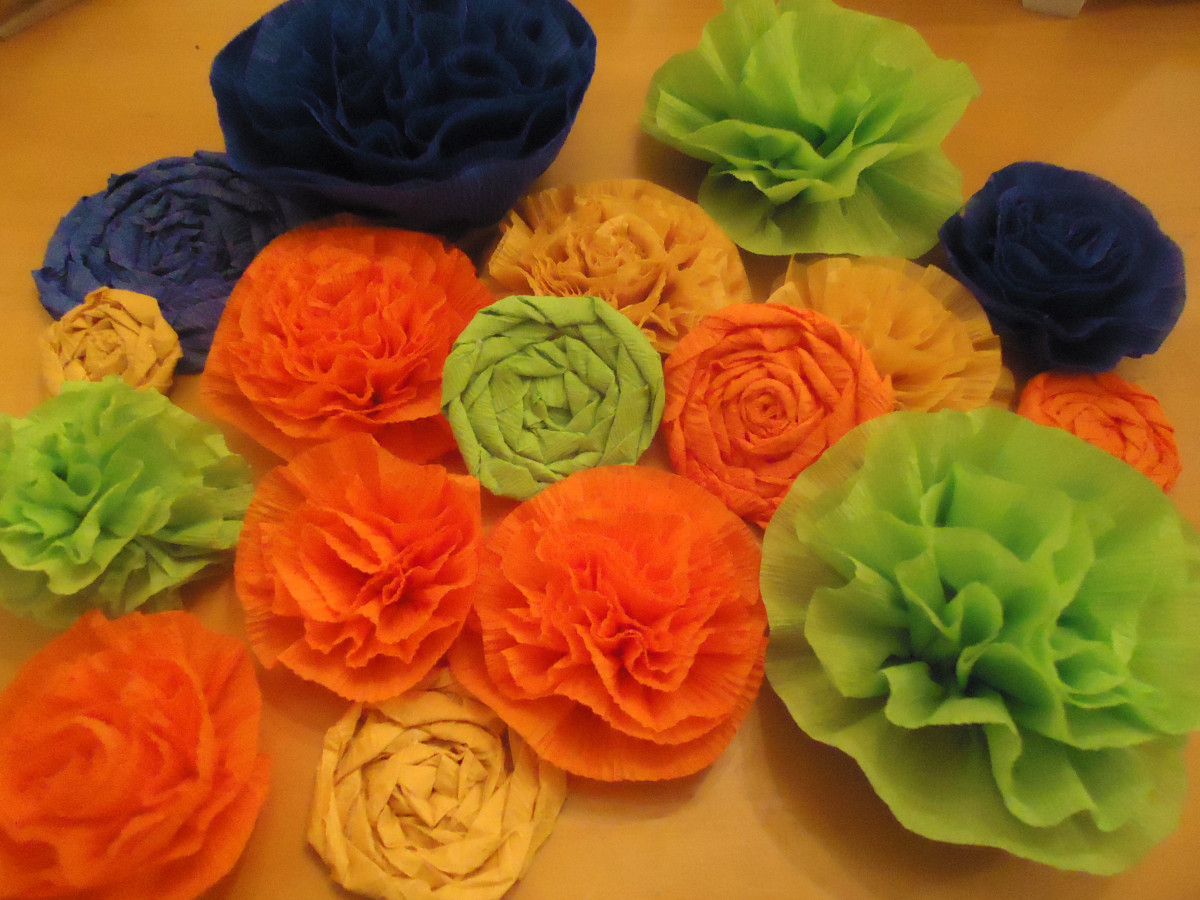 Crepe paper carnations and rolled flowers