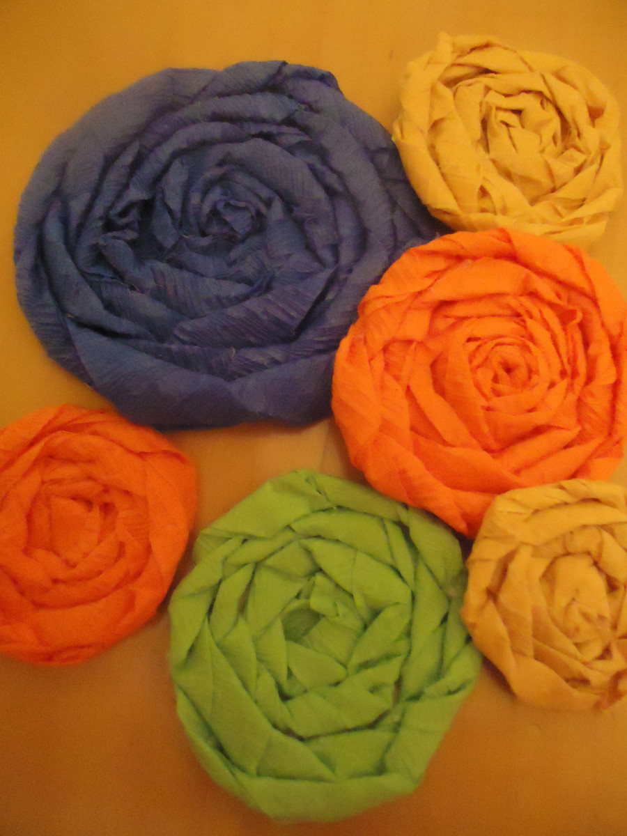 rolled flowers or cabbage roses from crepe paper