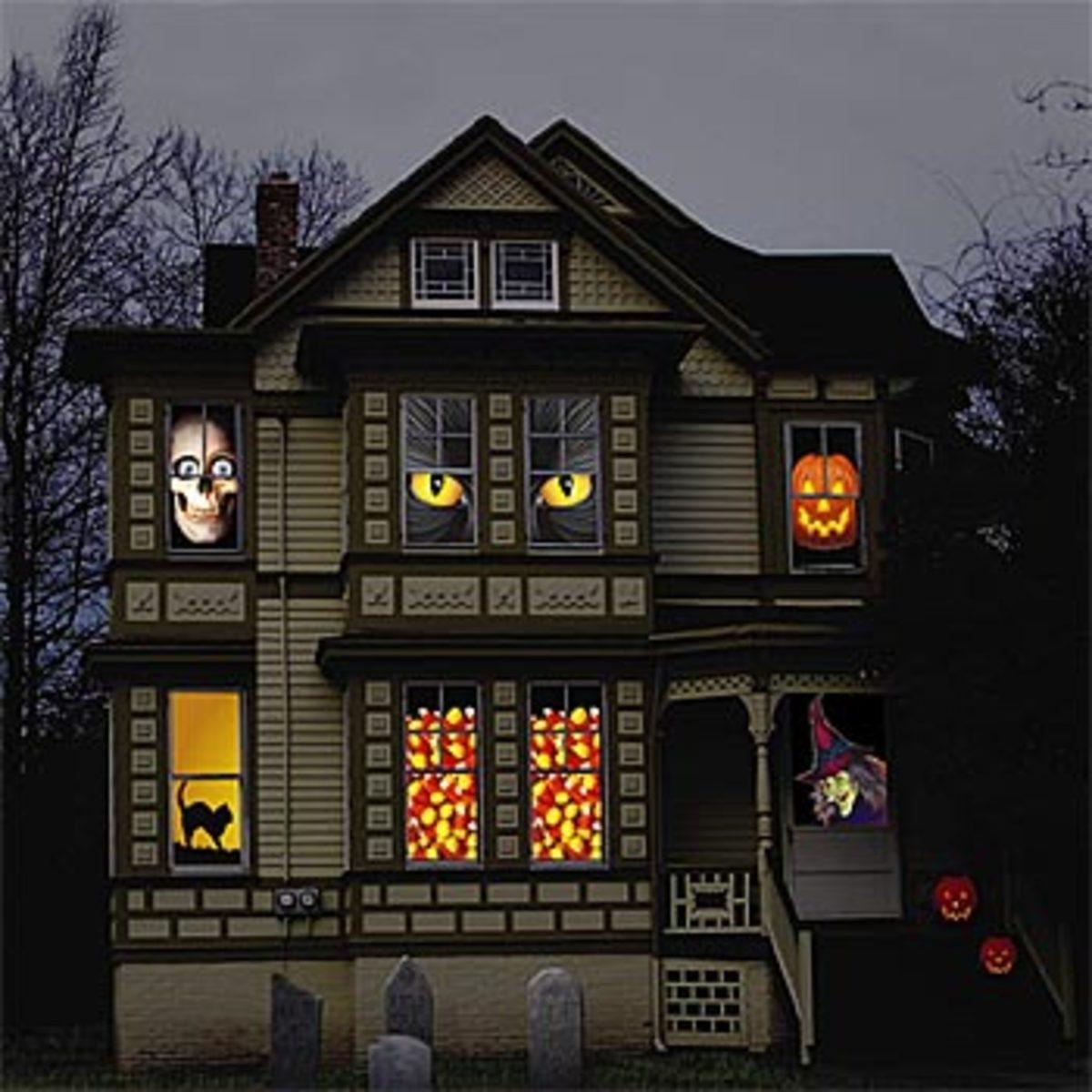 large scary halloween eye clings - Halloween Window Decals