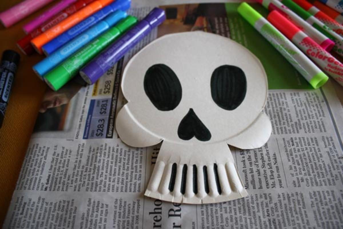 Paper Plate Skeleton Mask
