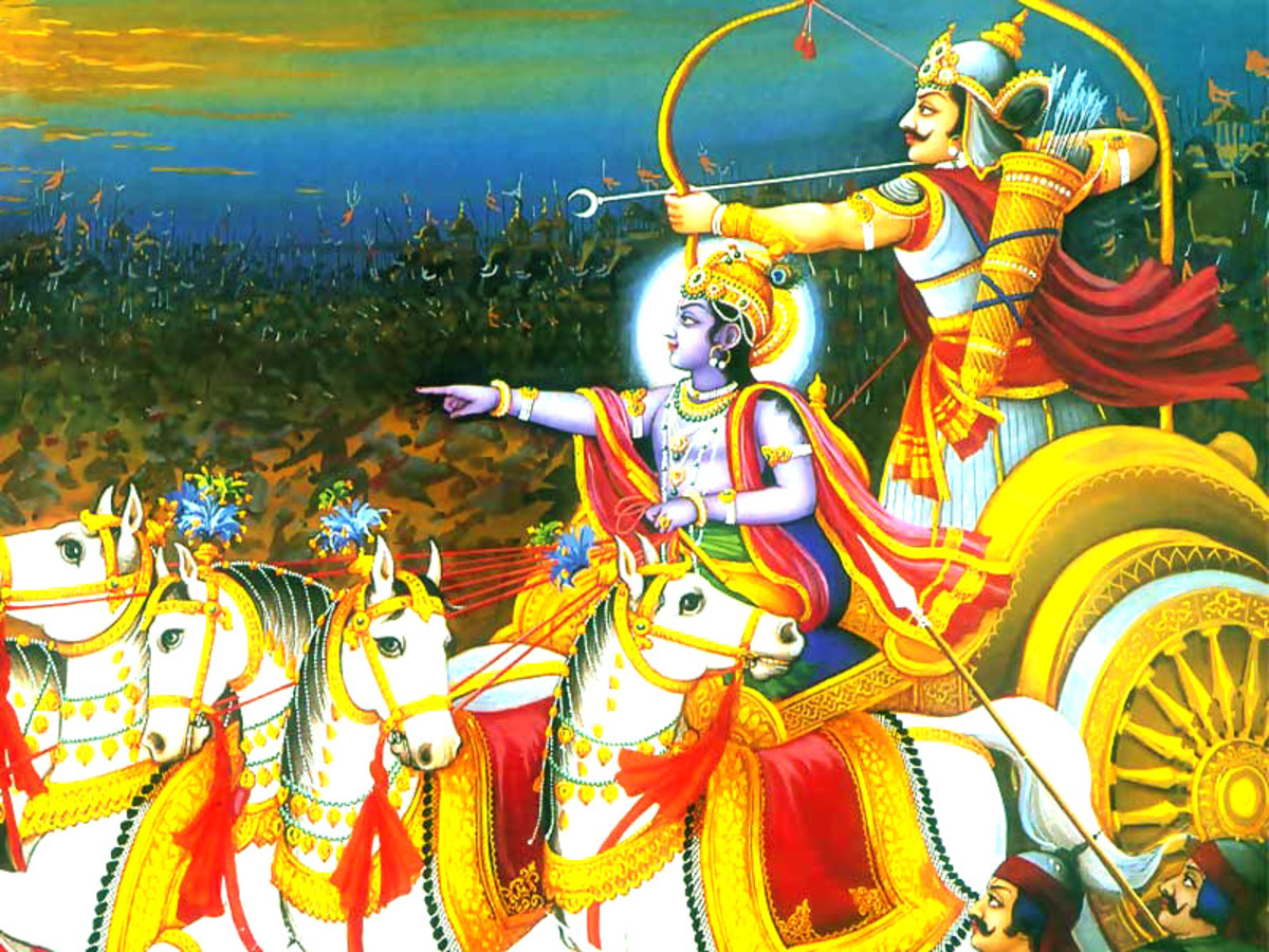 Krishna and Aurjana in the battle of Mahabharata by unknown artist, photographed by Vinaya