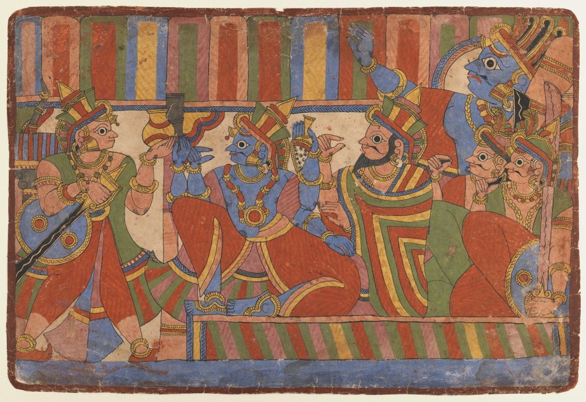 Krishna Counsels the Pandava Leaders, Page from a Mahabharata series. A painting by unknown artist via Wikimedia Commons