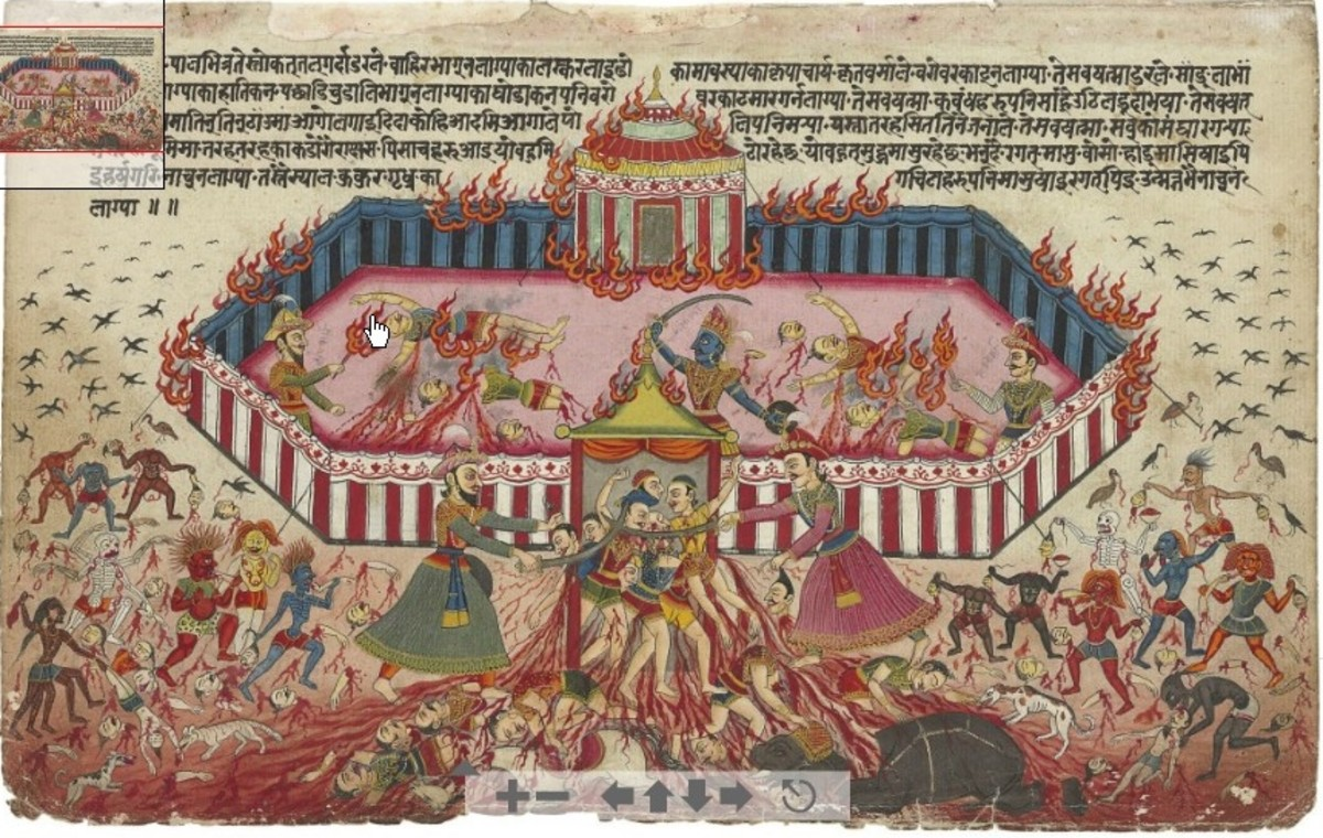 An illustration from the Mahabharata Nepal, c. 1800 Depicting the five Pandava brothers dispatching and setting fire to their enemy  By Nepal, c. 1800 [Public domain], via Wikimedia Commons