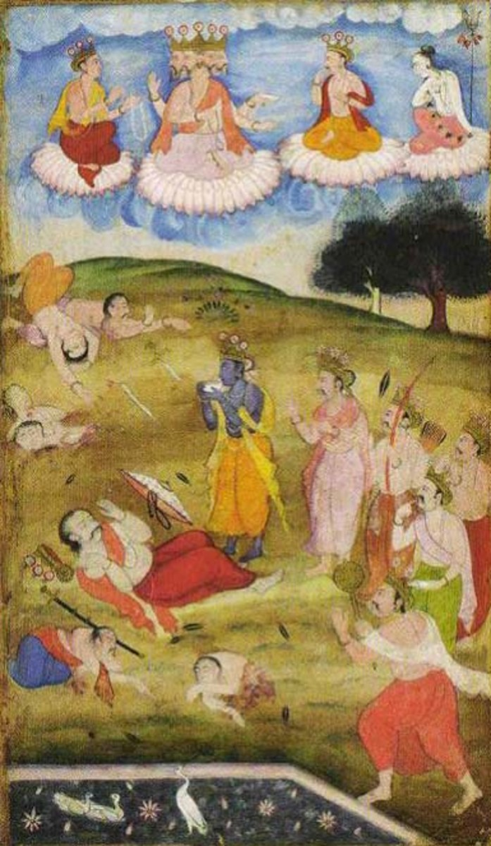Folio from an illustrated manuscript of RazmNama, a Persian translation of Mahabharata By Mughal [Public domain], via Wikimedia Commons