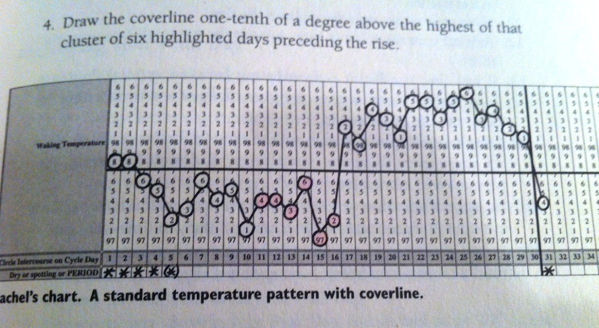 Each circle represents a temp taken each day. Although one day is slightly different from the next, you can see that the temps clearly rise and remain high after day 17. The horizontal cover-line clearly separates the two phases, low and high.