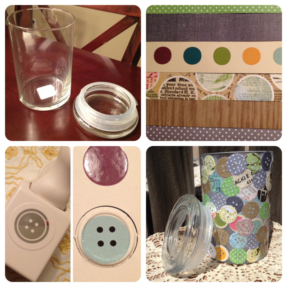 Using a Libby Jar, unique scrapbook papers, and  a Martha Stewart button punch you can turn a boring jar into colorful art.