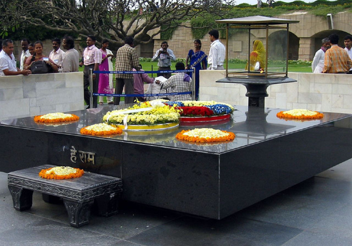 Rajghat - the memorial erected in memory of Mahatma Gandhi. It was at this place that the Mahatma was cremated.