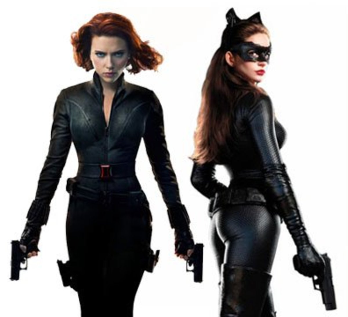 scarlett johansson as The Black Widow In The Avengers and Anne Hathaway as Catwoman in The Dark Knight Rises.