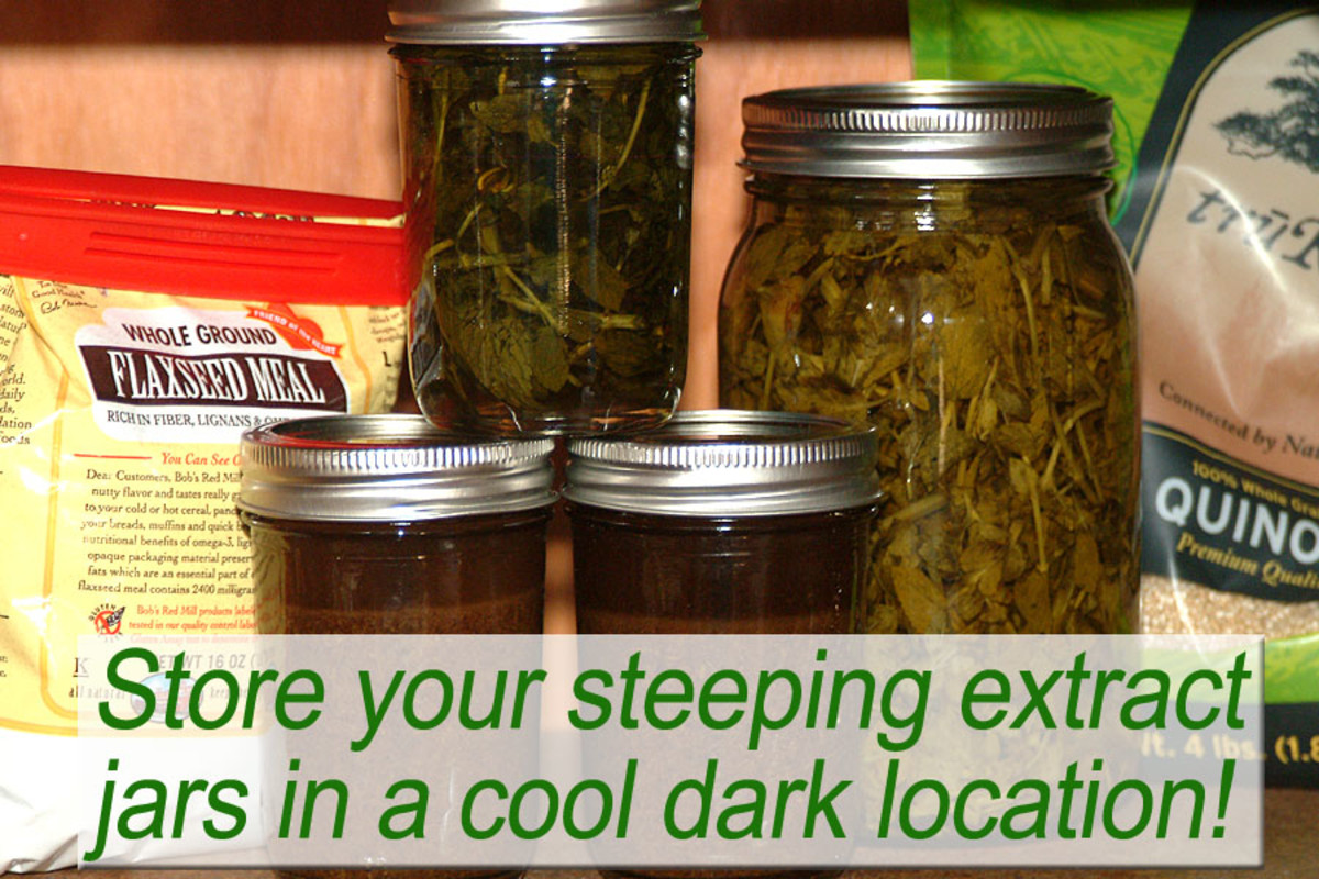 Store the filled and sealed jars of extract in a cool dark location. In 3 to 6 weeks, strain and re-bottle for personal use, or as gifts!