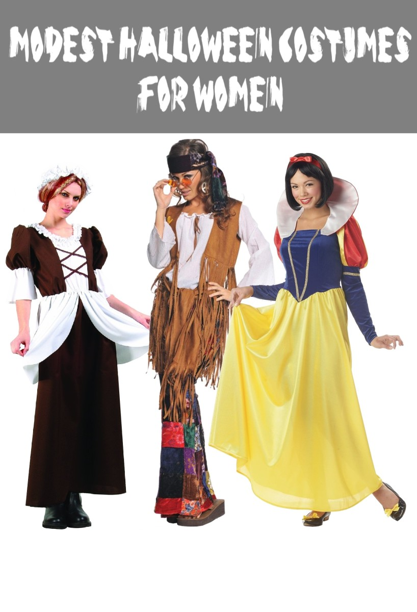 Above are the Following Costumes (from left to right) Adult Colonial Lady Costume, Women's Peace Out Costume, Women's Snow White Costume.