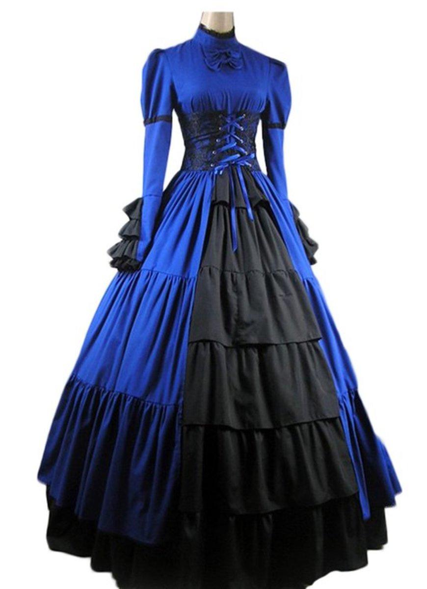 Elegant Gothic Lolita Victorian Aristocrat Black Satin Long