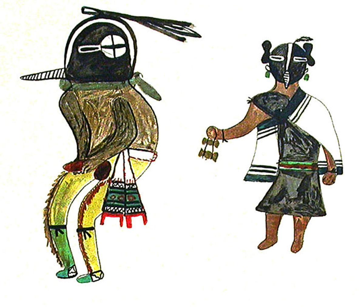 Kokopelli and Kokopelli Mana as depicted by the Hopi.