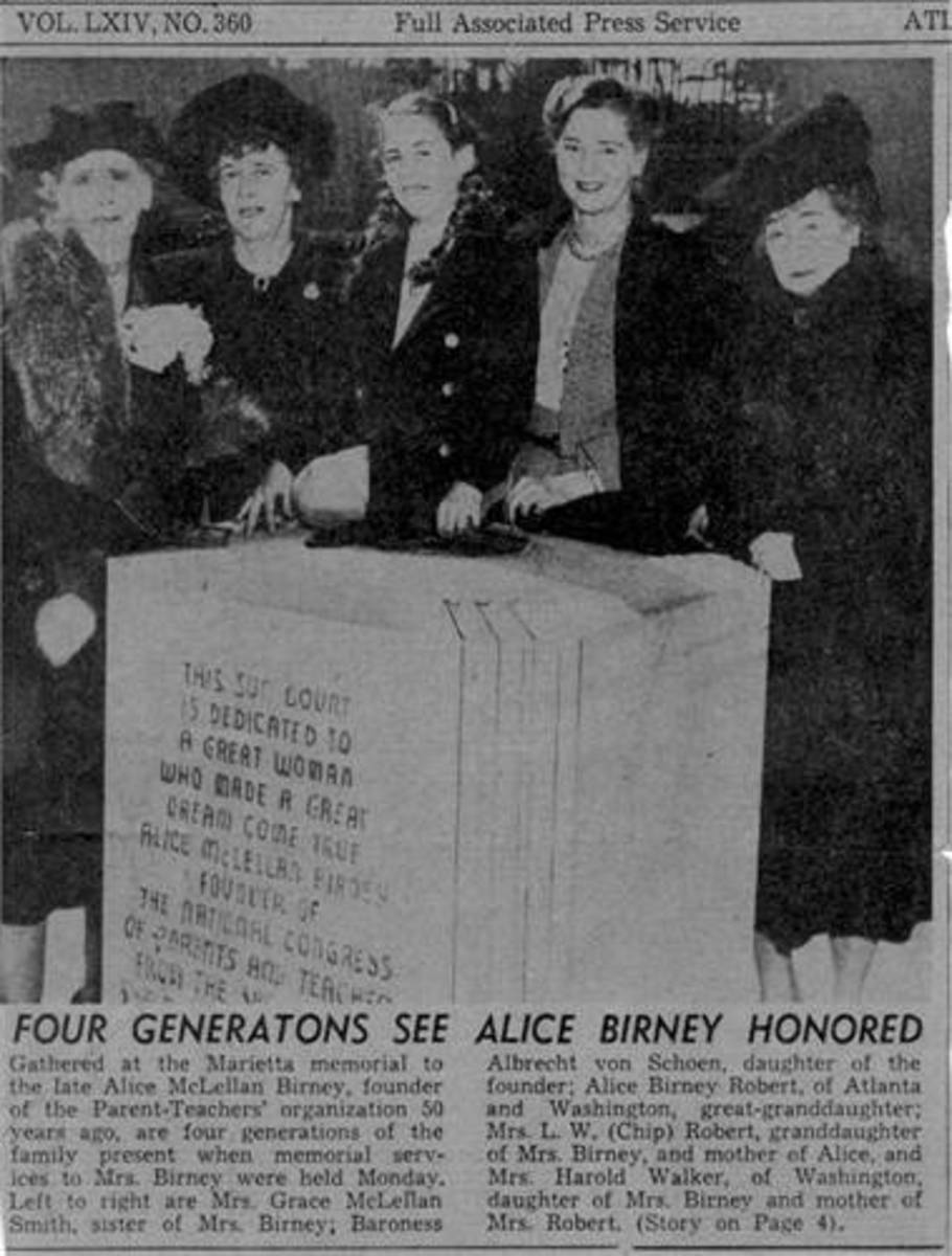 When Alice McLellan Birney was honored by the NCOPT and the People of Marietta, Georgia, four generations of women from her family attended, and her great-granddaughter Alice, unveiled the statue.