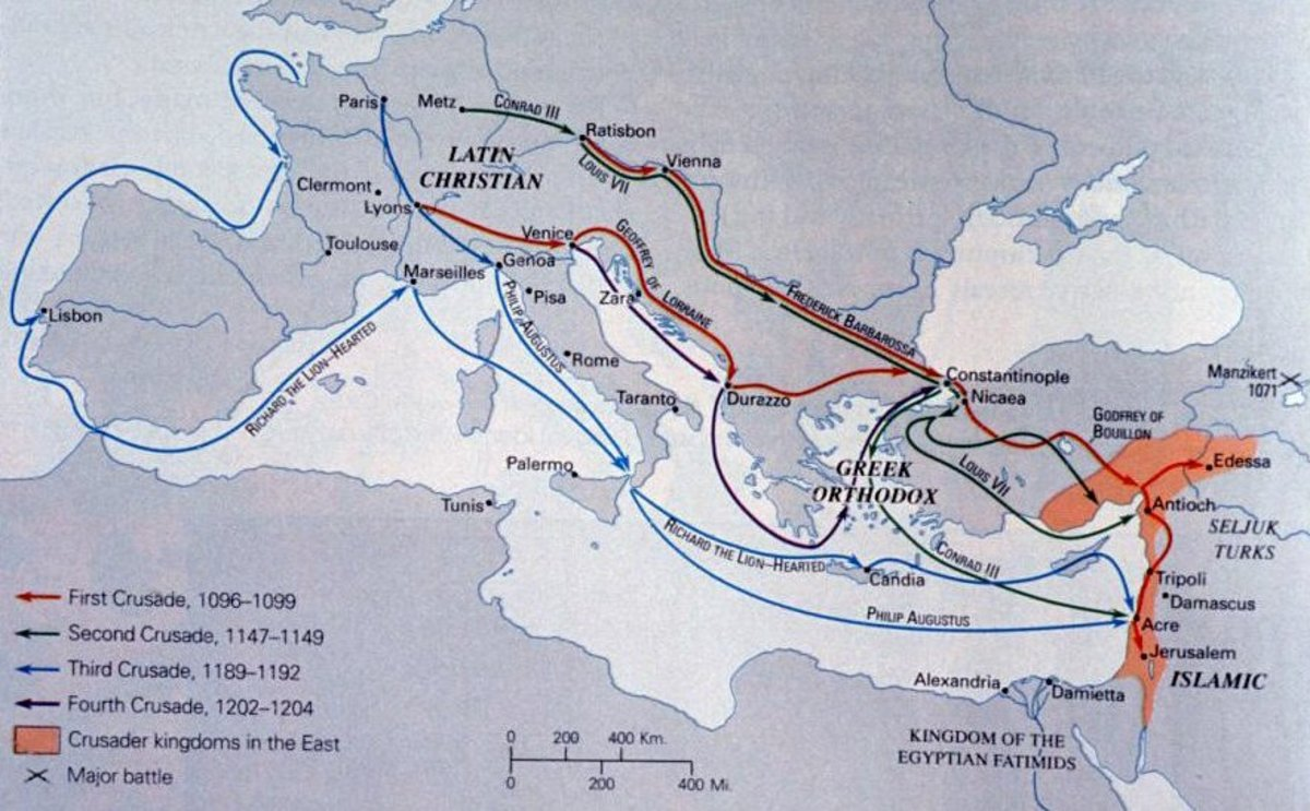 Map of the various European Crusades