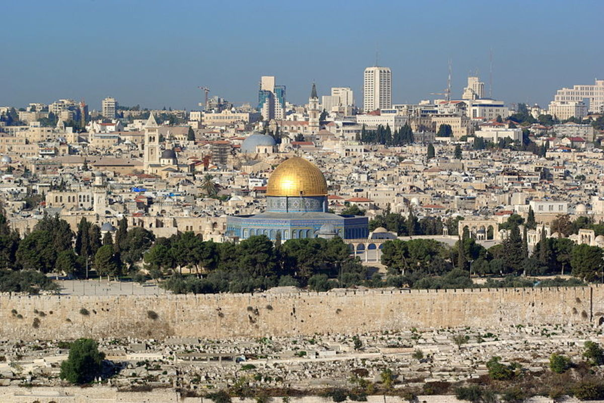 Jerusalem, Dome of the rock, in the background the Church of the Holy Sepulchre