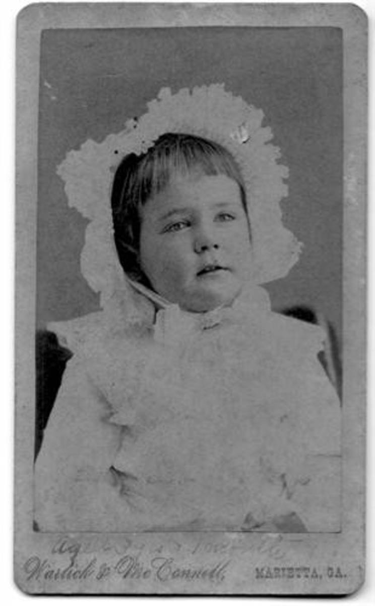 Alonsita Eliza White in 1884.  Born four months after the death of her father, Alonsita Eliza White was the first of the three daughters of Alice McLellan Birney, and the only child of Alice McLellan and her first husband, Alonzo J. White Jr.