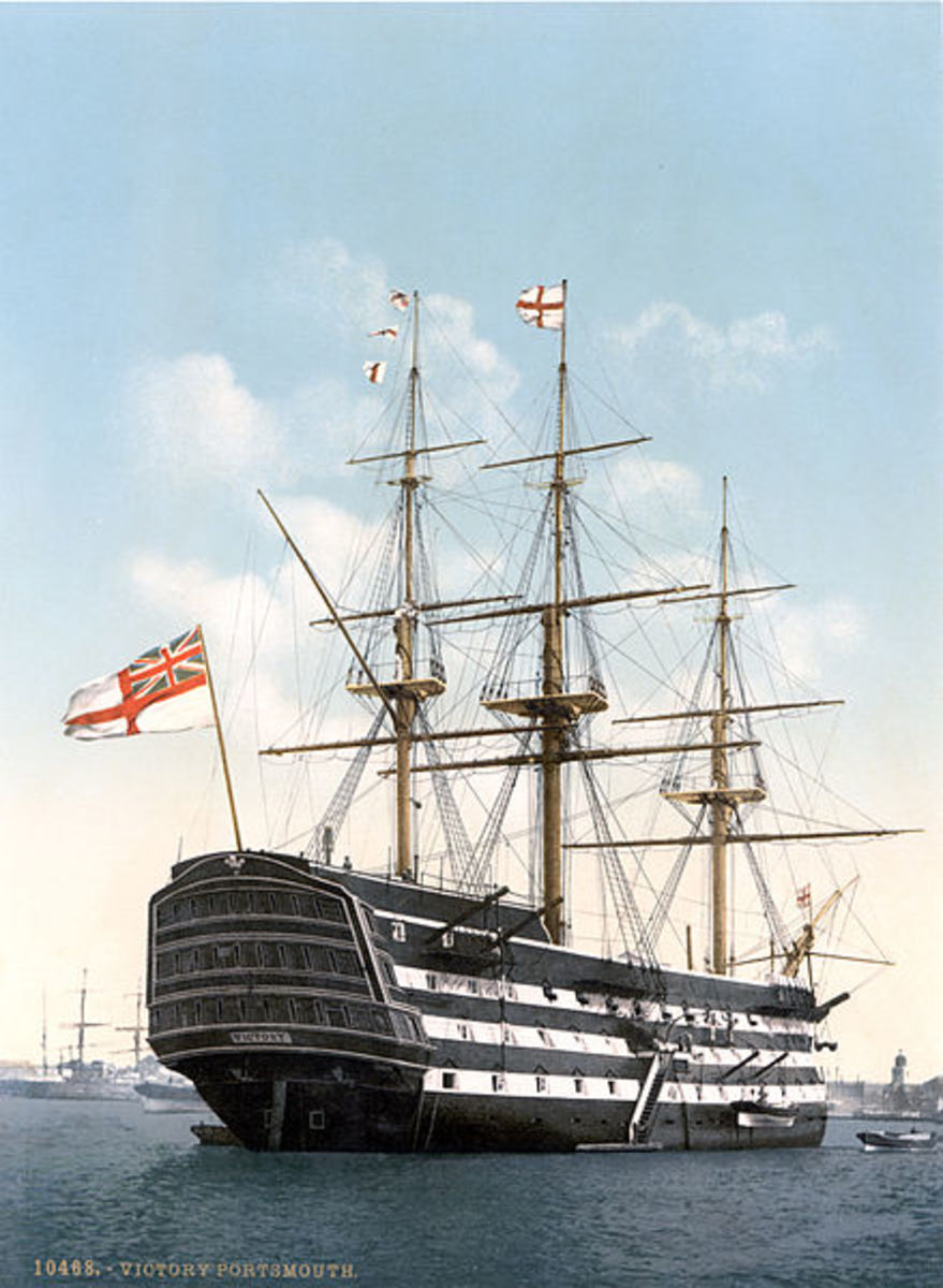 Work on HMS Victory began in the same year that Heart of Oak was written.  She is herself a Heart of Oak, being almost entirely built of oak.