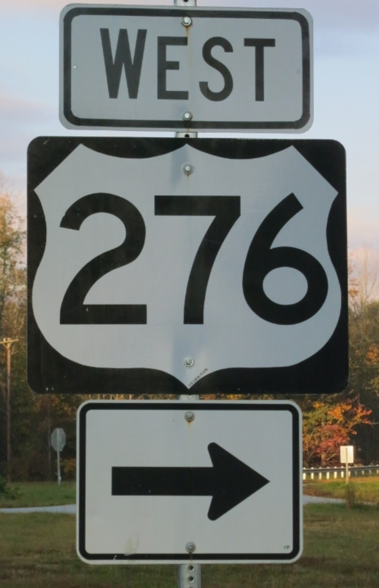 Sign for Highway 276 in South Carolina's upstate region.