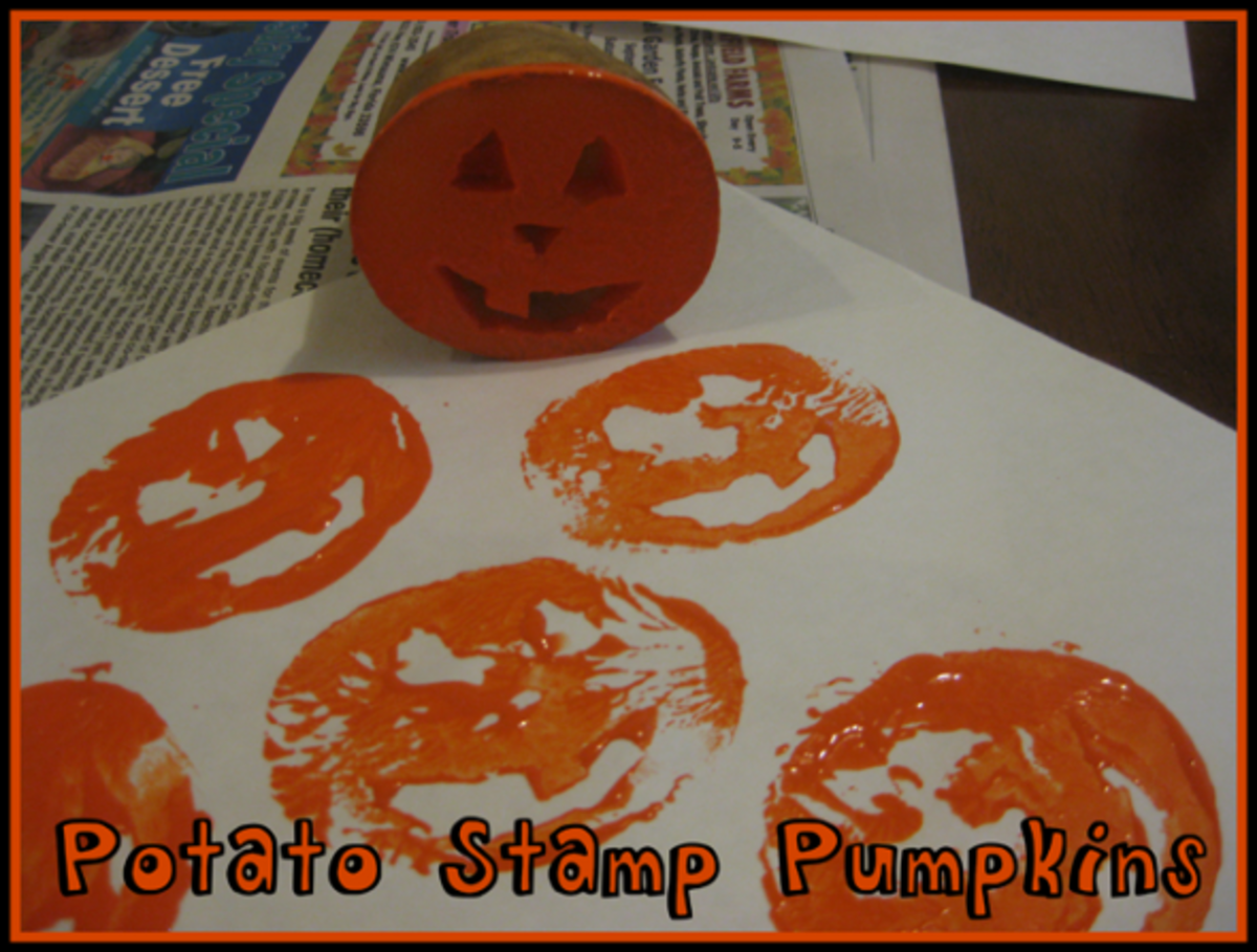 potato stamp pumpkins