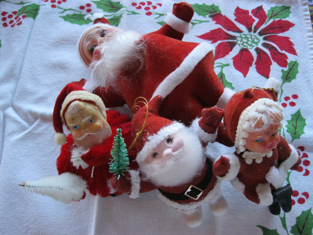 Assorted materials Santas with plastic faces