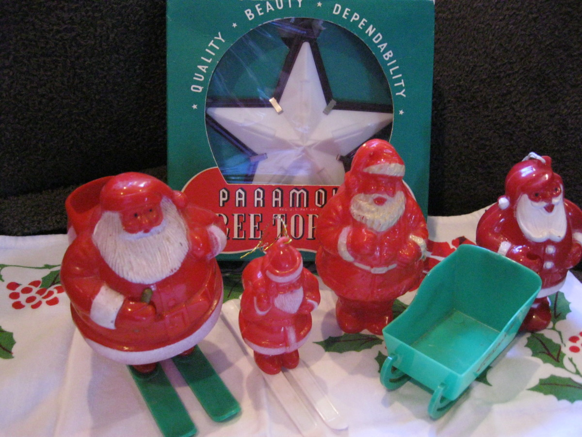 vintage plastic christmas decorations santa candy containers ornament and star tree topper - Vintage Christmas Decorations 1950s