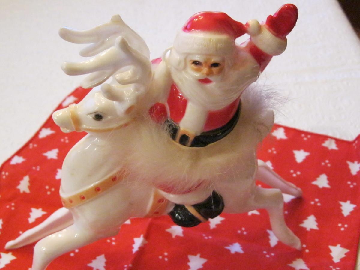 Ho Ho Santa, 1950s.  Santa is wearing a stylish rabbit fur tu tu