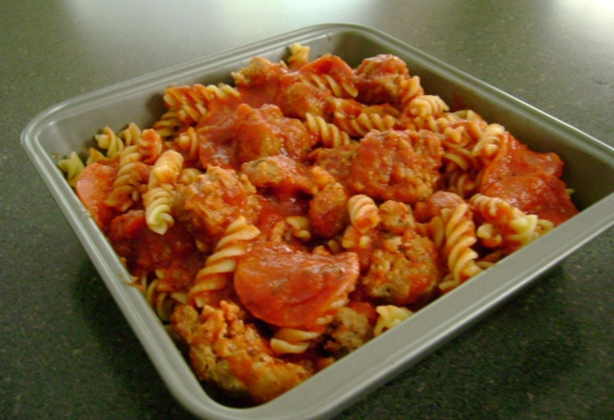 meatball and pepperoni pasta bake