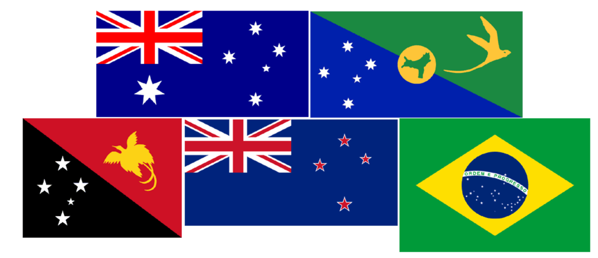 The Southern Cross appears on the flags of some countries in the Southern Hemisphere