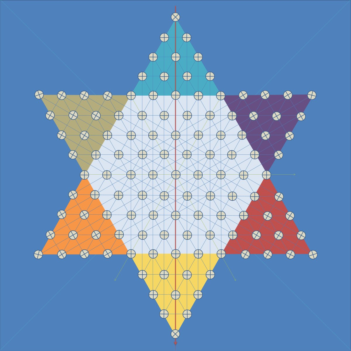 Figure 5 - A full marked star is composed of: 10-holes per triangle, 61 holes on the hexagon, 121 holes in total.