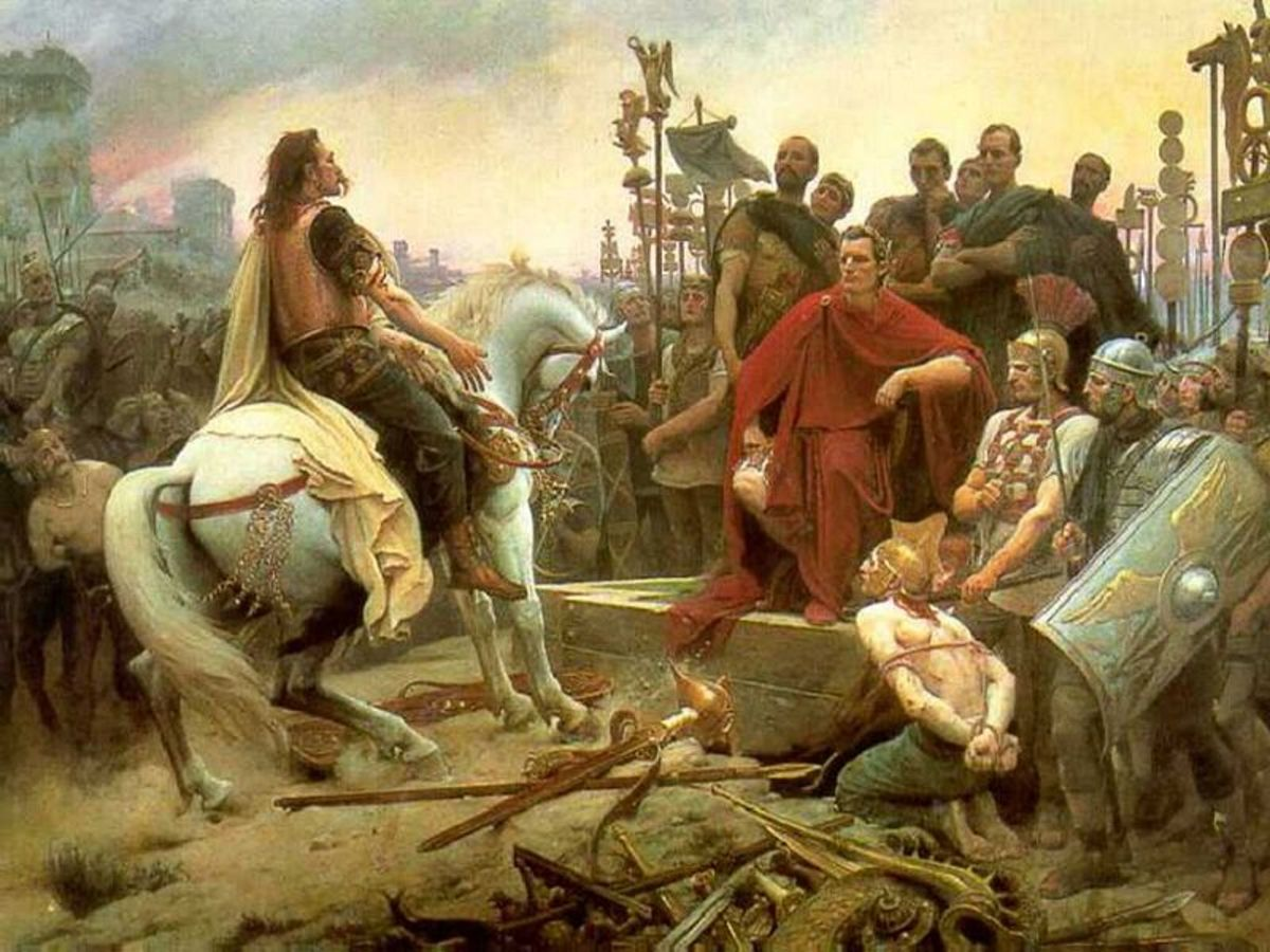 This painting depicts Vercingetorix surrendering to Julius Caesar in the aftermath of the battle. It should be noted that in reality Caesar would have been dressed as a soldier rather than a politician as shown here.