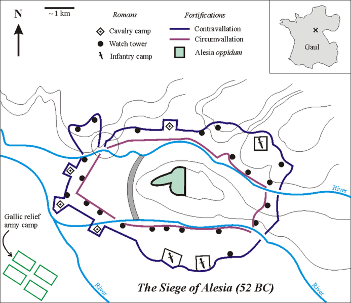 This map highlights the fortifications constructed by Julius Caesar according to archaelogical evidence.