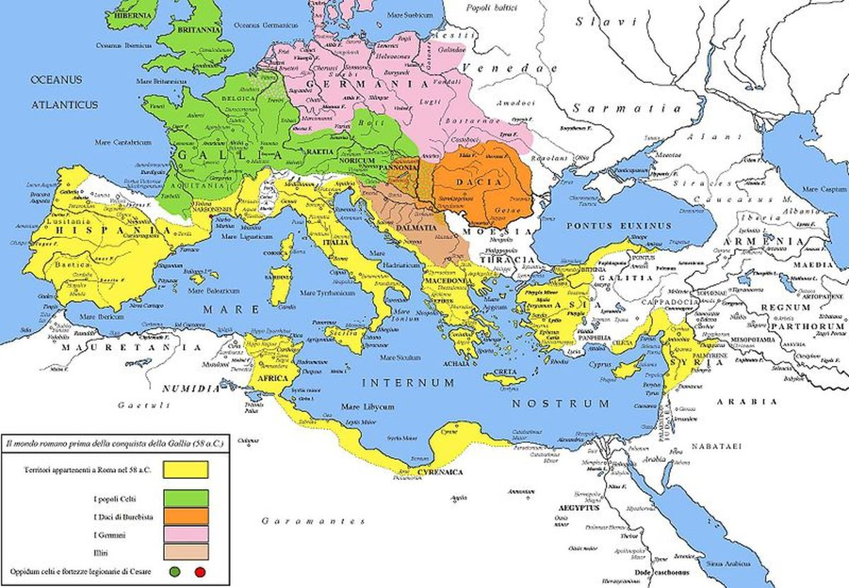 This map show the location of the Gallic tribes prior to Caesar's conquest. Incidentally Roman held territory is marked in yellow.