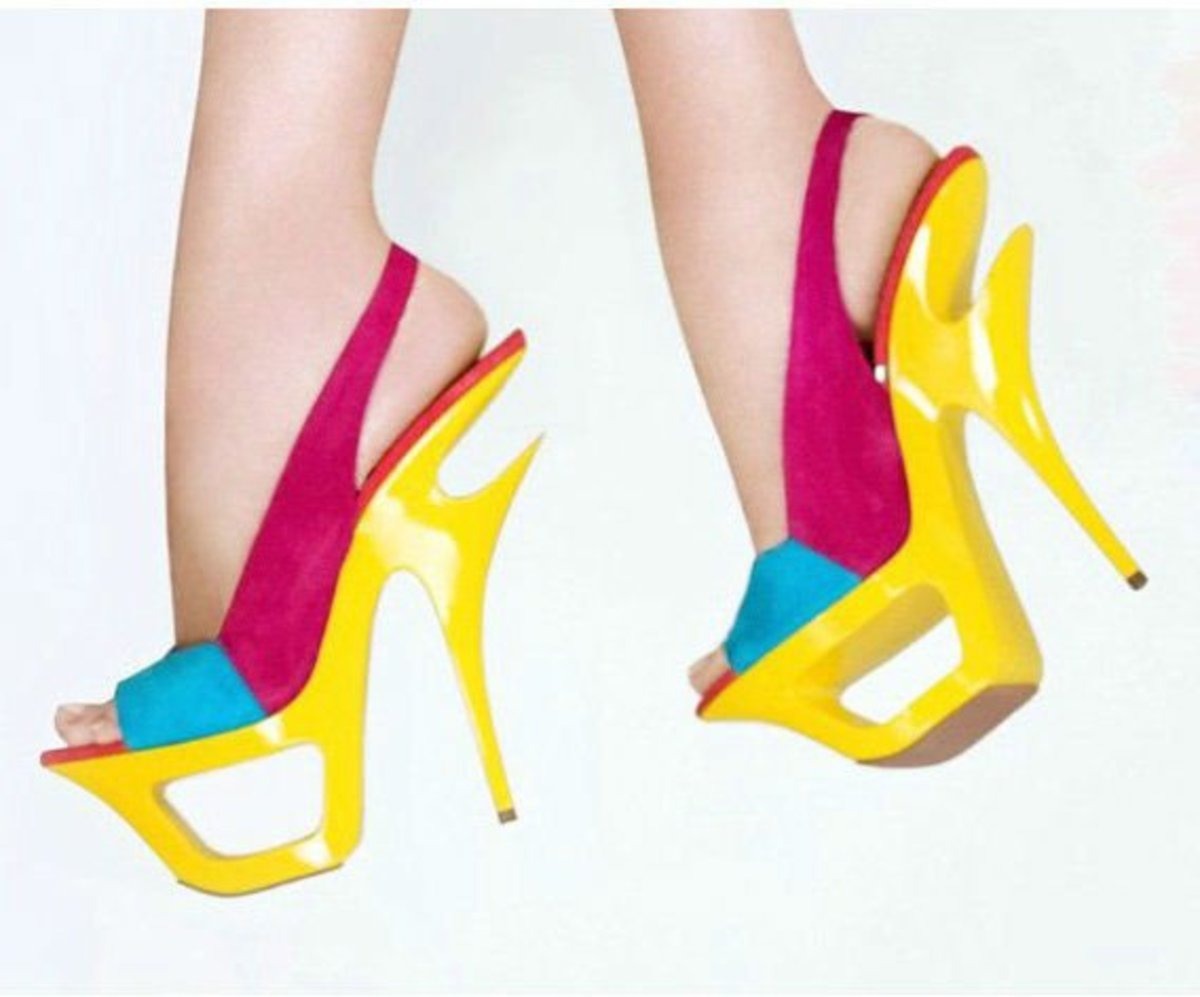 Brightly coloured summer heels, the clouds are there as well.